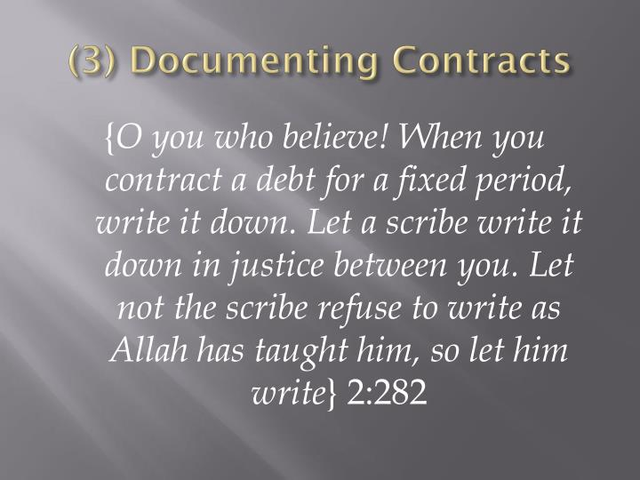 (3) Documenting Contracts