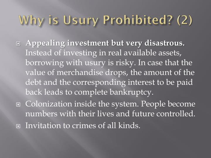 Why is Usury Prohibited