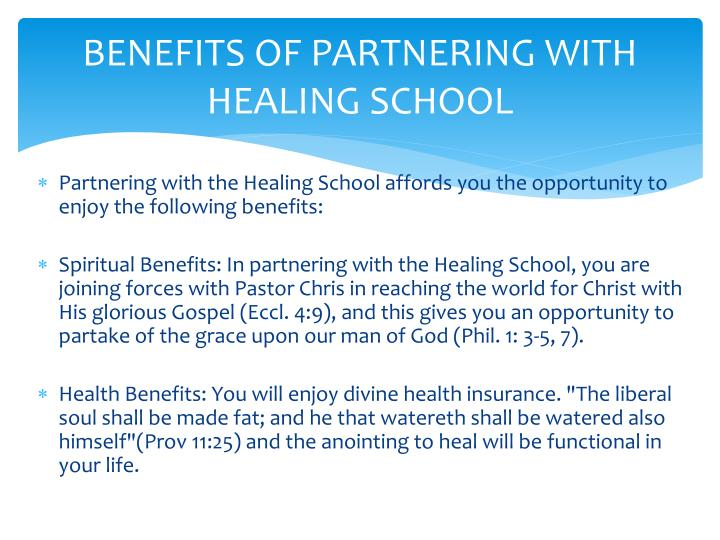 BENEFITS OF PARTNERING WITH HEALING SCHOOL