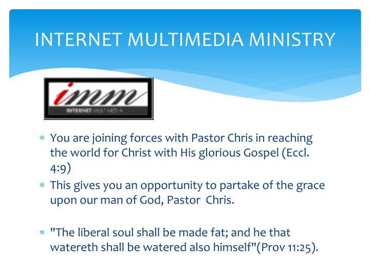 INTERNET MULTIMEDIA MINISTRY