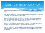 ways to partner with ror