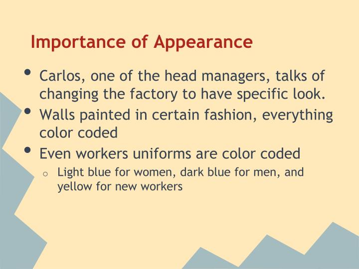 Importance of Appearance