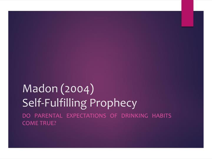prophecy research paper Open document below is an essay on self-fulfilling prophecy from anti essays, your source for research papers, essays, and term paper examples.