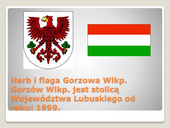 Herb i flaga Gorzowa Wlkp. Gorzów Wlkp. jest stolicą Województwa Lubuskiego od roku: 1999.