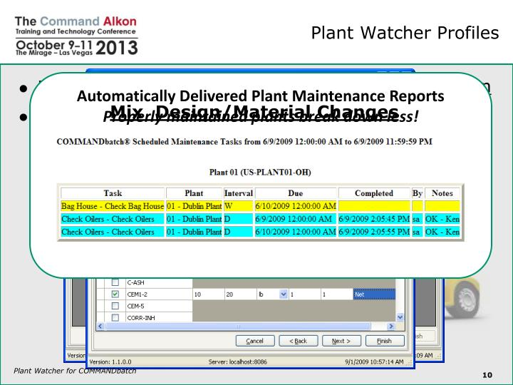 Automatically Delivered Plant Maintenance Reports