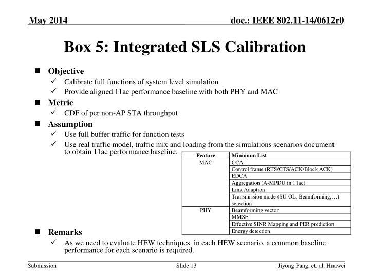 Box 5: Integrated SLS Calibration