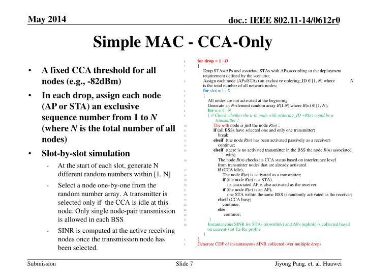 Simple MAC - CCA-Only