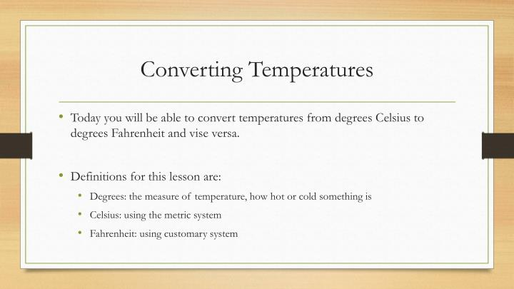 Converting Temperatures