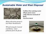 sustainable water and wast disposal
