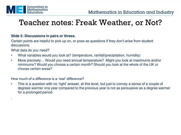 Teacher notes: Freak Weather, or Not?