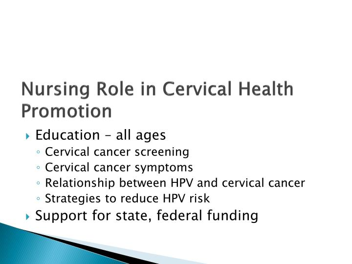 Nursing Role in Cervical Health Promotion