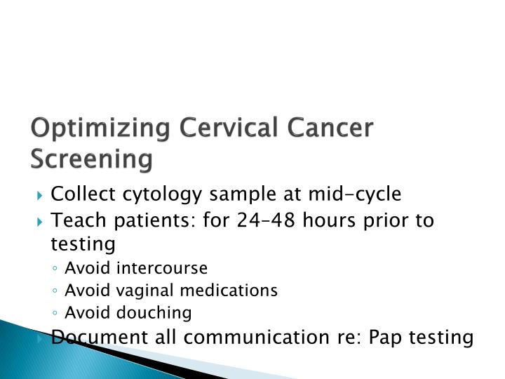 Optimizing Cervical Cancer Screening