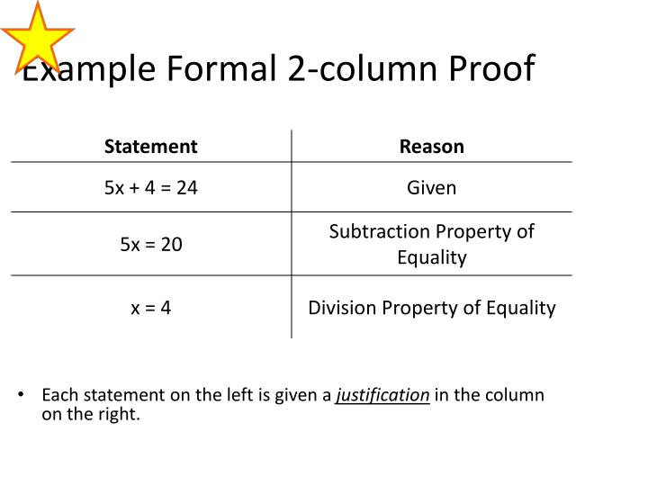 Example Formal 2-column Proof