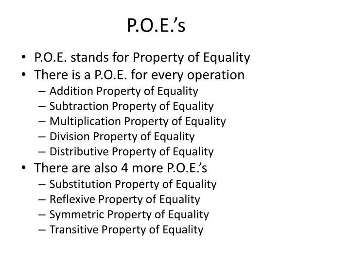 P.O.E.'s