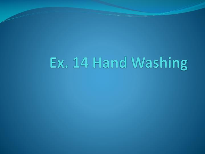 Ex 14 hand washing