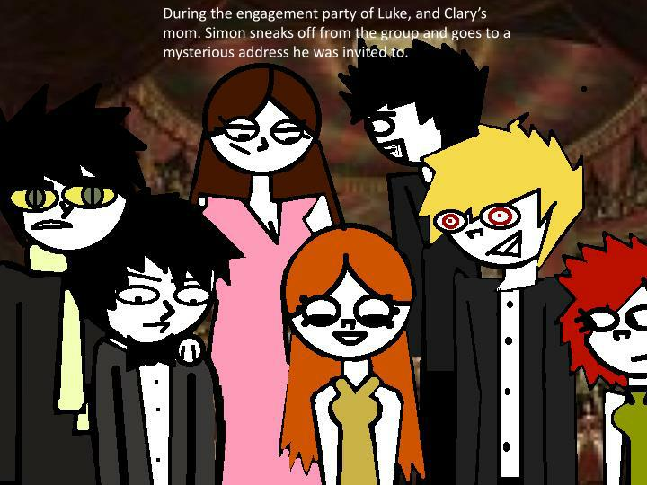 During the engagement party of Luke, and Clary's mom. Simon sneaks off from the group and goes to a mysterious address he was invited to.