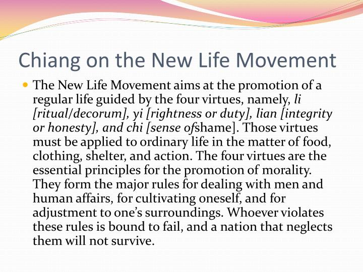 Chiang on the New Life Movement