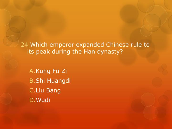 Which emperor expanded Chinese rule to its peak during the Han dynasty?