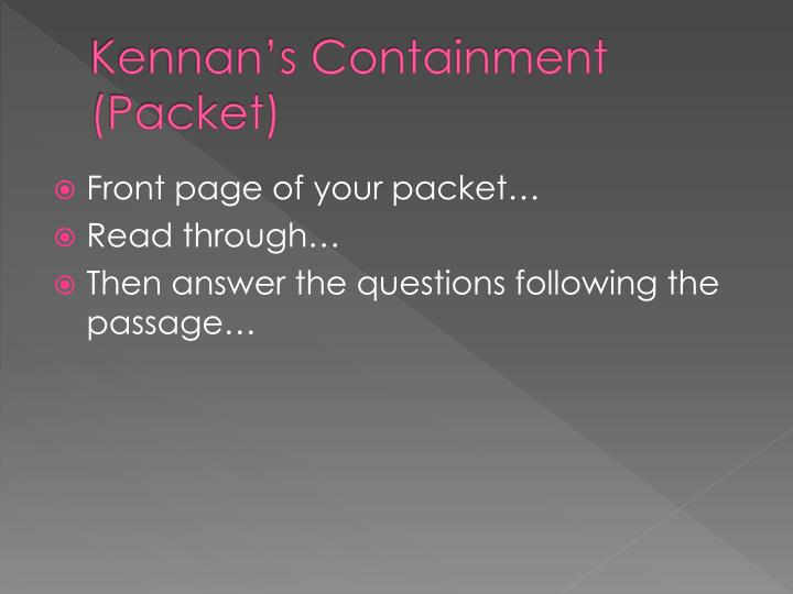Kennan's Containment (Packet)