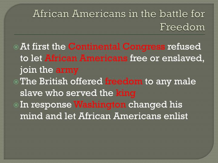 African Americans in the battle