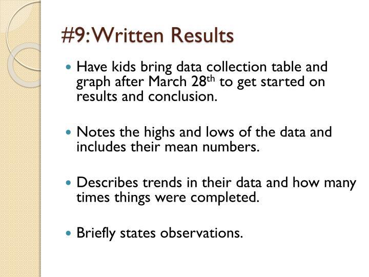 #9: Written Results