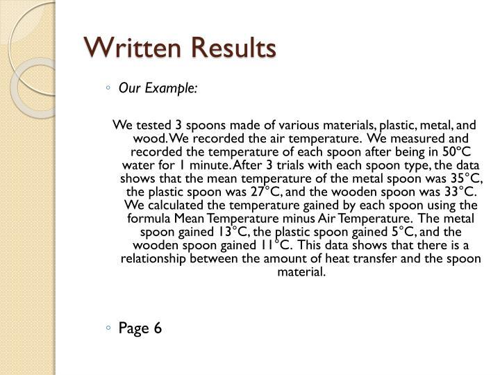 Written Results