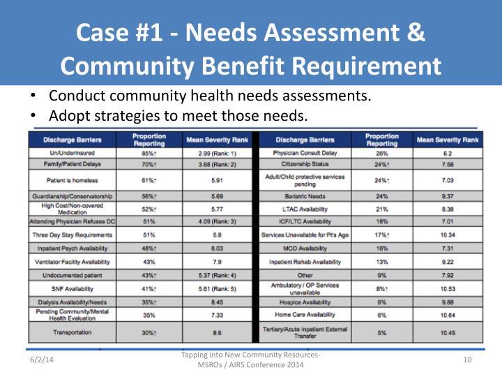 Case #1 - Needs Assessment &