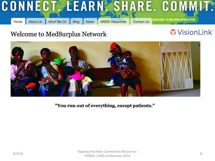Tapping into New Community Resources-MSROs / AIRS Conference 2014