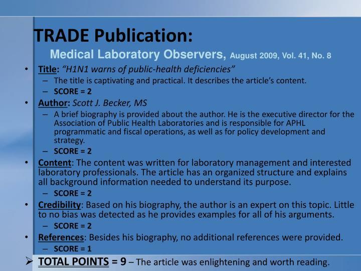TRADE Publication: