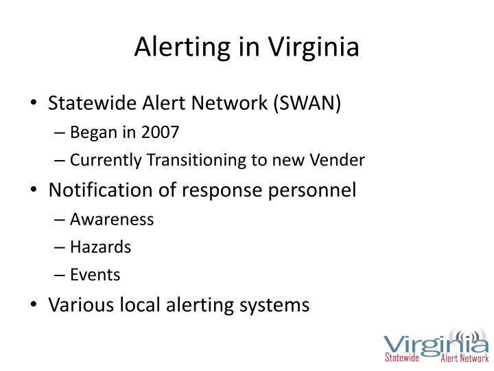 Alerting in Virginia