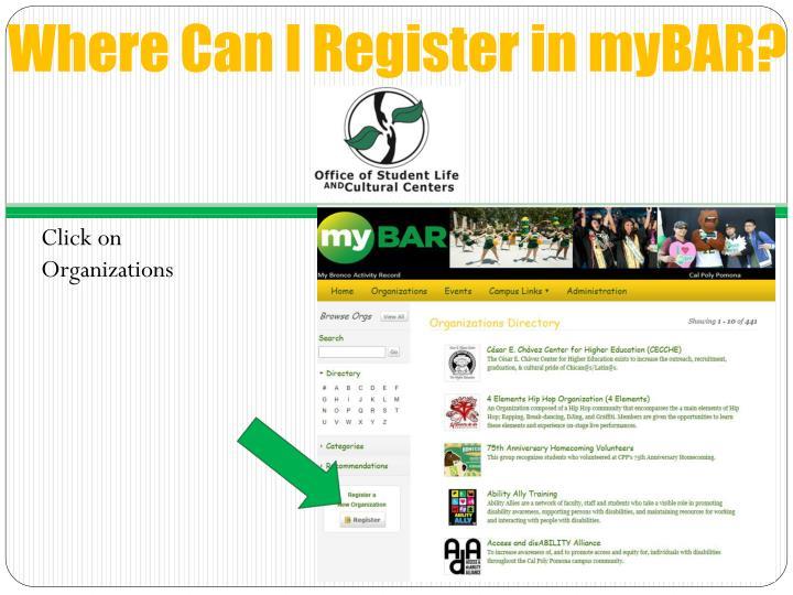 Where Can I Register in myBAR?