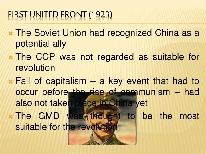 The Soviet Union had recognized China as a potential ally
