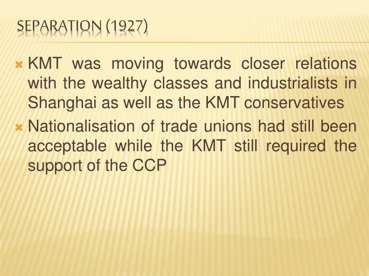 KMT was moving towards closer relations with the wealthy classes and industrialists in Shanghai as well as the KMT conservatives
