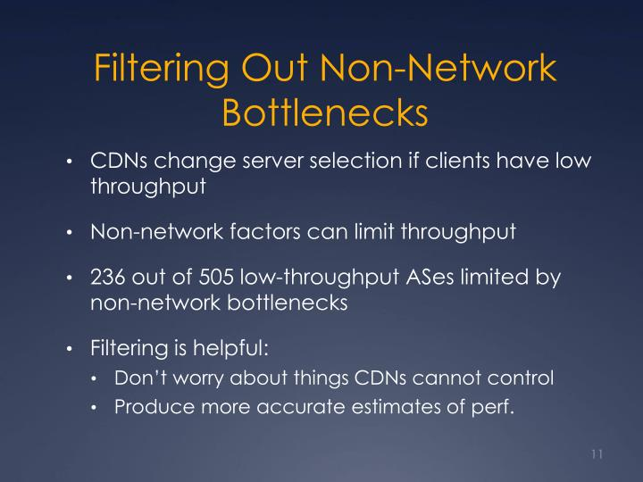 Filtering Out Non-Network Bottlenecks