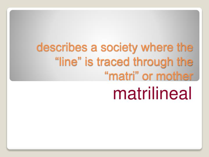 """describes a society where the """"line"""" is traced through the """""""