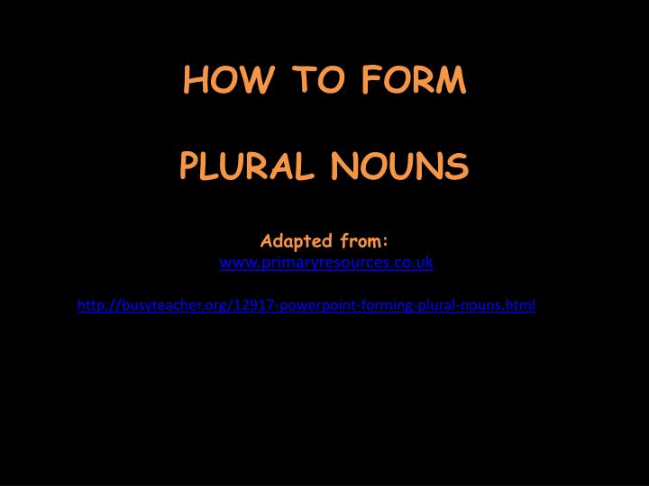 How to form plural nouns adapted from www primaryresources co uk