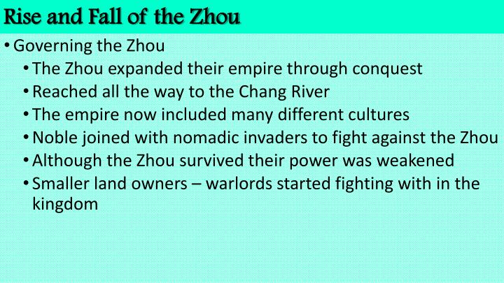 Rise and fall of the zhou1