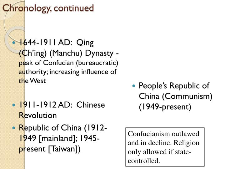 1644-1911 AD:  Qing (Ch'ing) (Manchu) Dynasty -