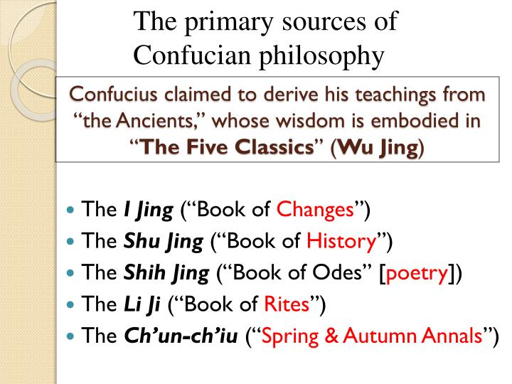 The primary sources of Confucian philosophy