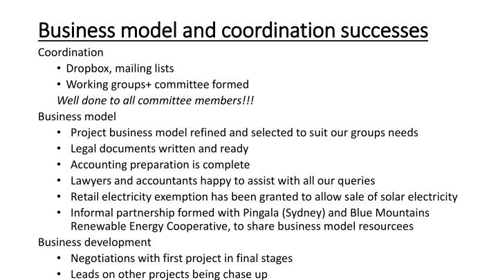 Business model and coordination successes