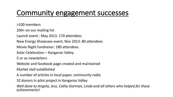 Community engagement successes