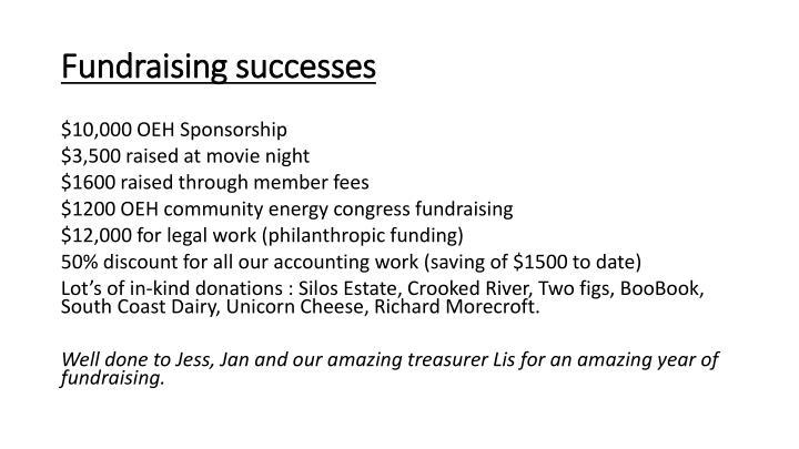 Fundraising successes