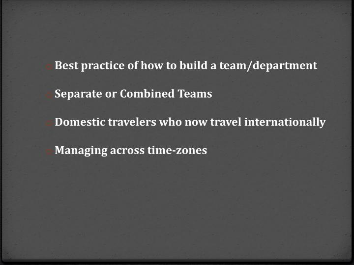 Best practice of how to build a team/department