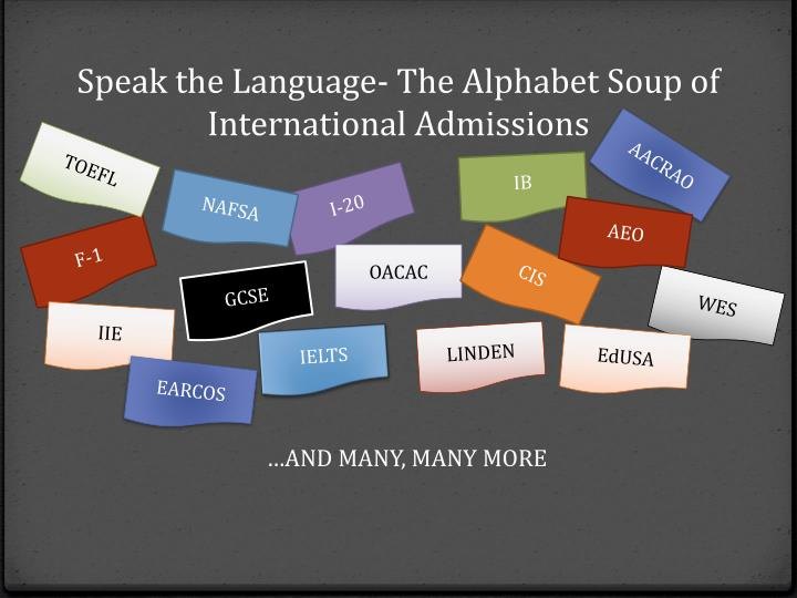 Speak the Language- The Alphabet Soup of International Admissions