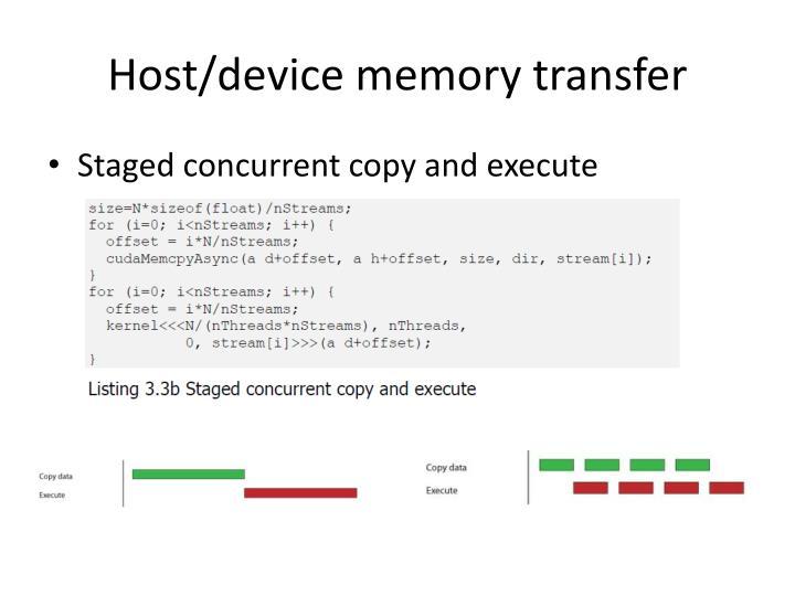 Host/device memory transfer