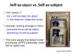 self as object vs self as subject