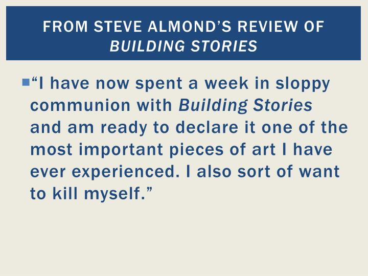 From steve almond s review of building stories