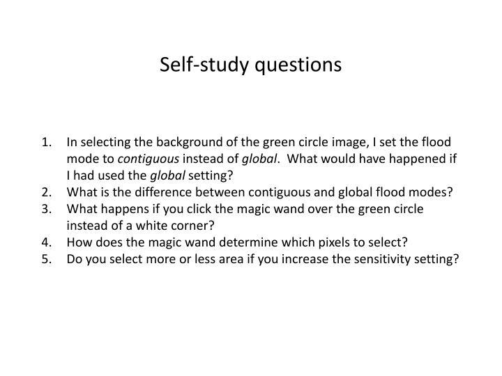 Self-study questions