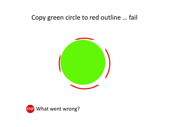 Copy green circle to red outline … fail