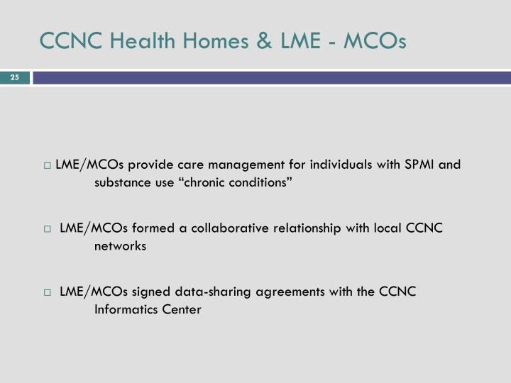 CCNC Health Homes & LME - MCOs